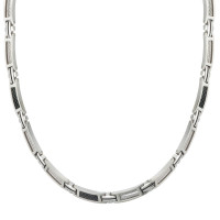 CEM Collier Herren Schmuck Leder Halskette Edelstahl schwarz bicolor ST6-052